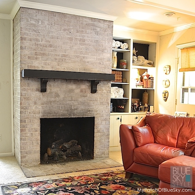 How to paint a brick fireplace fusion mineral paint - How to make a brick fireplace look modern ...