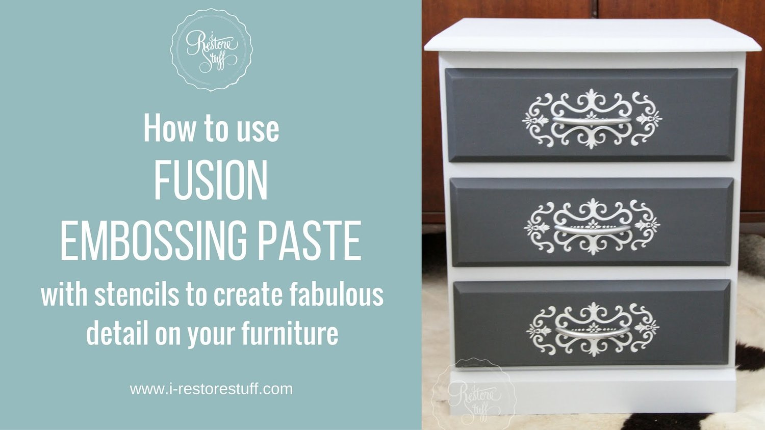 I Restore Stuff created this look using Fusion Mineral Paints Smooth Embossing Paste. | fusionmineralpaint.com