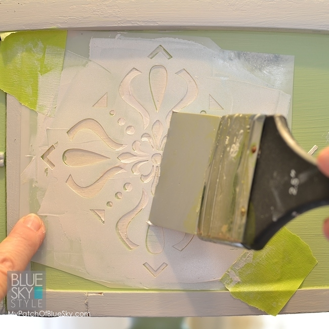 Push the embossing paste through the stencil to create a fantastic raised stencil. fusionmineralpaint.com