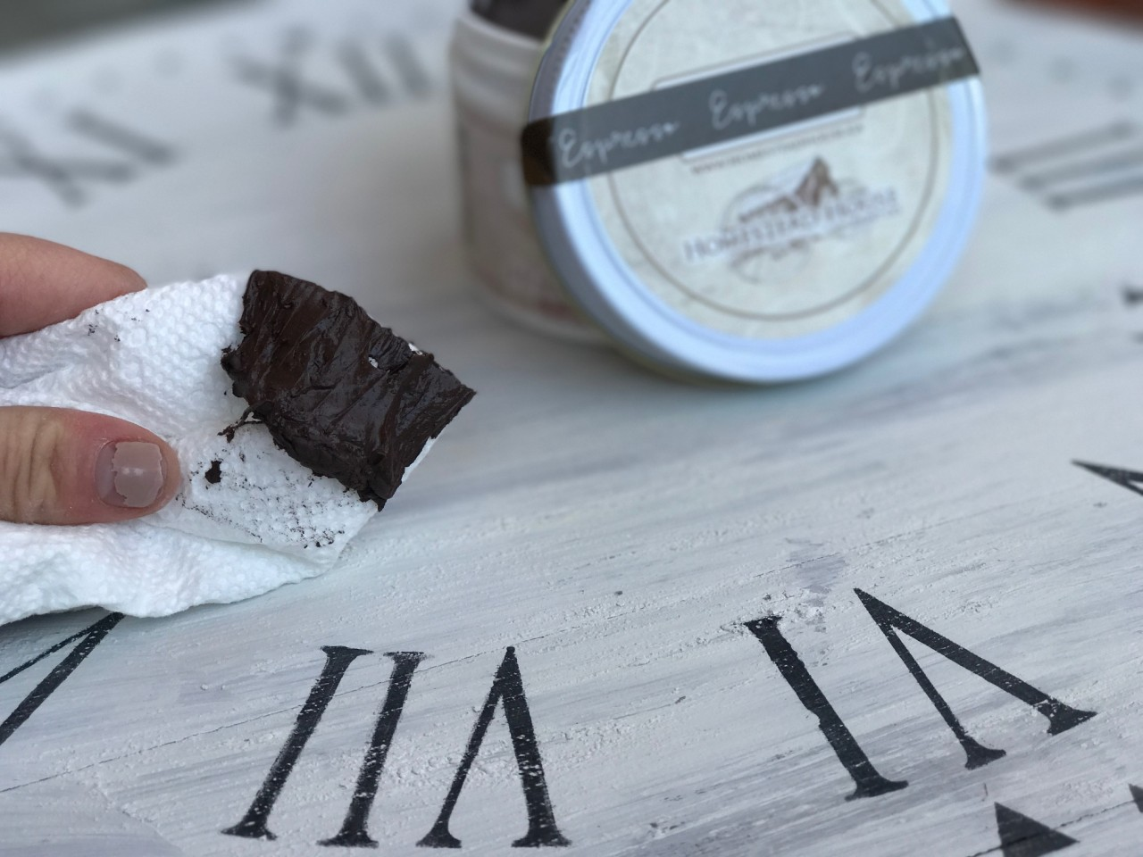 Espresso Wax from Homestead House will add instant age to painted pieces.   fusionmineralpaint.com