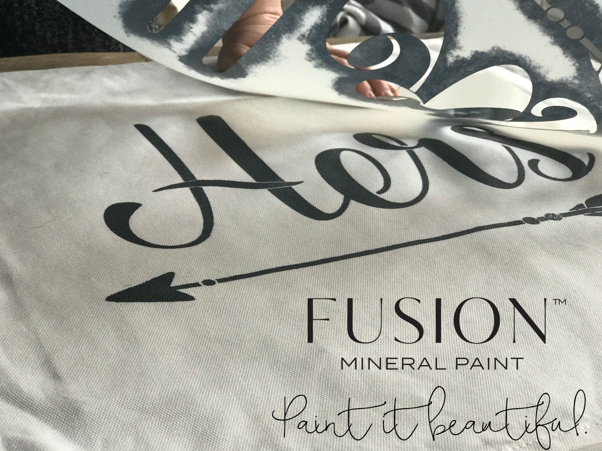 Painting Fabric Stencil Ikea Hack Pillow Case | fusionmineralpaint.com