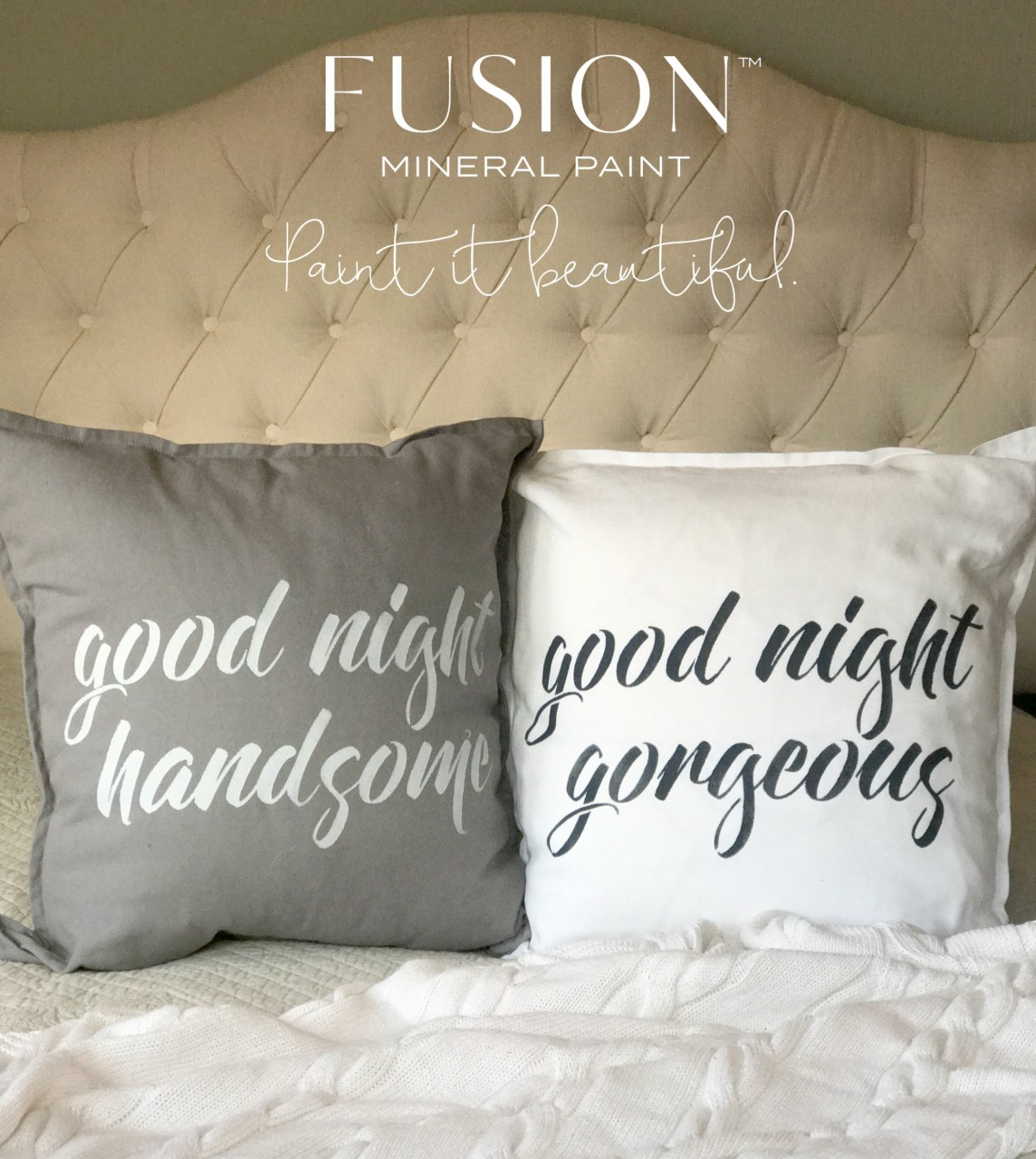 Ikea Hack Pillow Cover Fabric Painting | fusionmineralpaint.com
