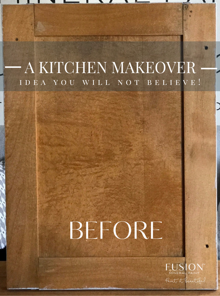 DIY Kitchen Cabinet Paint Makeover Metallic Paint Finish Before and After. fusionmineralpaint.com