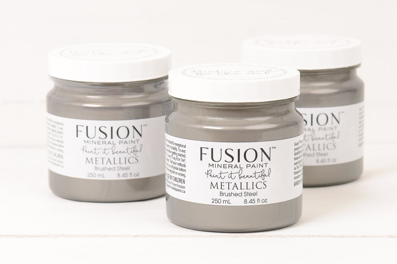 Metallic Brushed Steel for any project! Faux Metal is so on trend! fusionmineralpaint.com