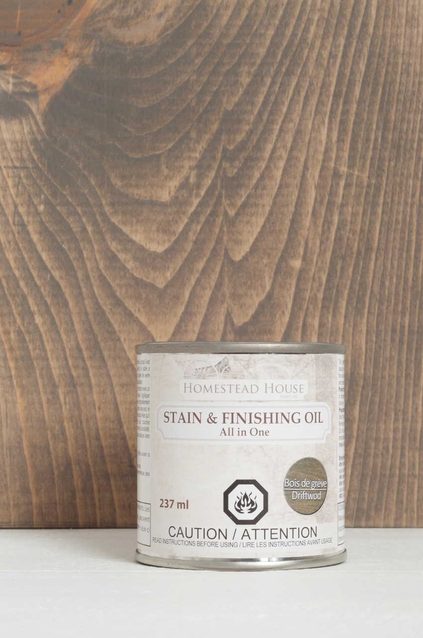Driftwood Color Stain & Finishing Oil All in One Top Coat by Fusion Mineral Paint is Eco Friendly with beautiful coverage that is exceptionally durable. 6 Colors to choose from that are eco friendly and easy to use!