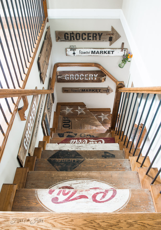 Can you stencil a staircase? Of course you can. Amazing work from Donna Williams of Funky Junk Interiors.