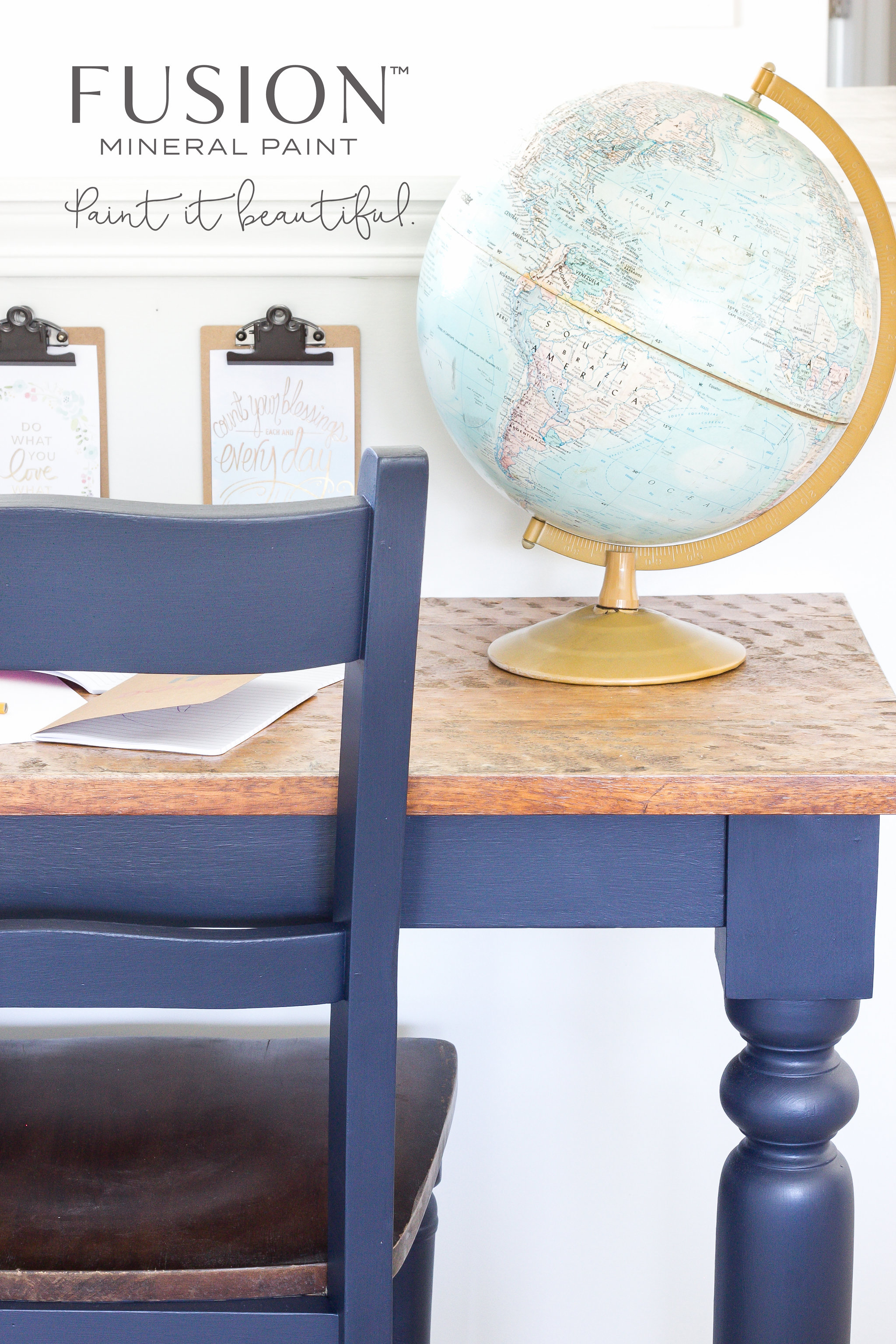 Smooth Matte finish in Midnight Blue Fusion Mineral Paint - Paint it Beautiful - for any style!