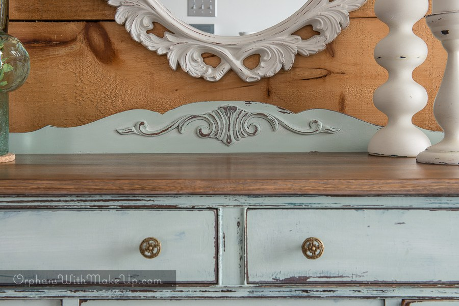 Buffet Sideboard with reclaimed wood ladder . This buffet is painted in Inglenook from Fusion Mineral Paint. This rustic distressed french country chic look is a beautiful farmhouse style.