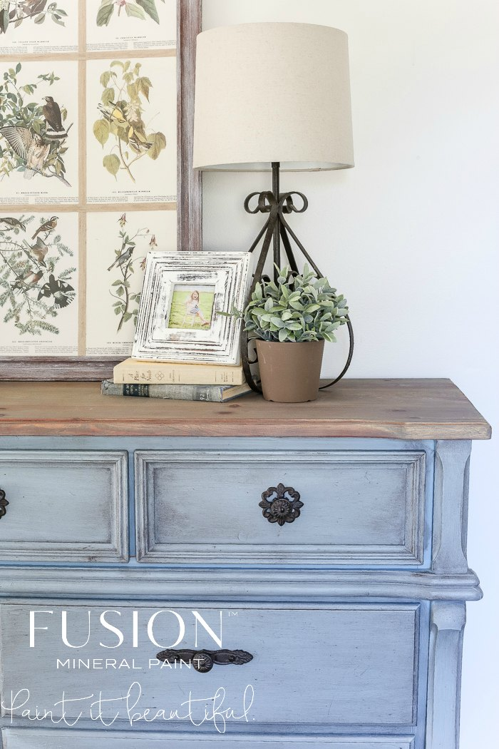 Get this French Country Vintage Blue look with a touch of black wax for added age