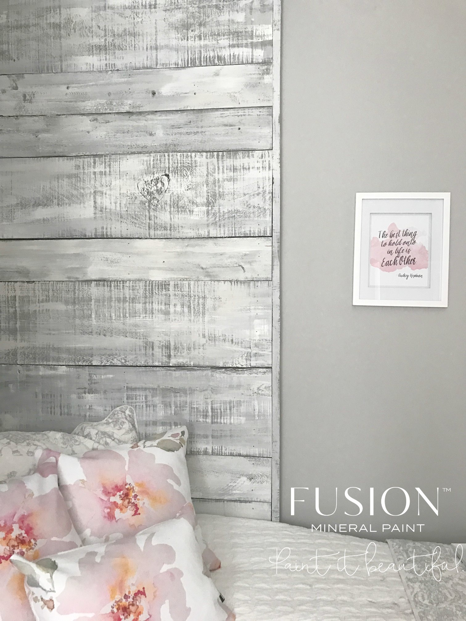 Driftwood Paint Finish using Fusion Mineral Paint Shabby Chic and beautiful floral accent pillows by Craftberry Bush give this soft sophisticated farmhouse look.