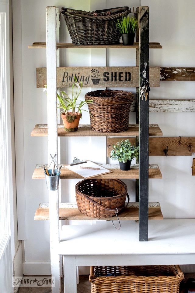DIY Vintage Ladder and Sign for Potting Shed