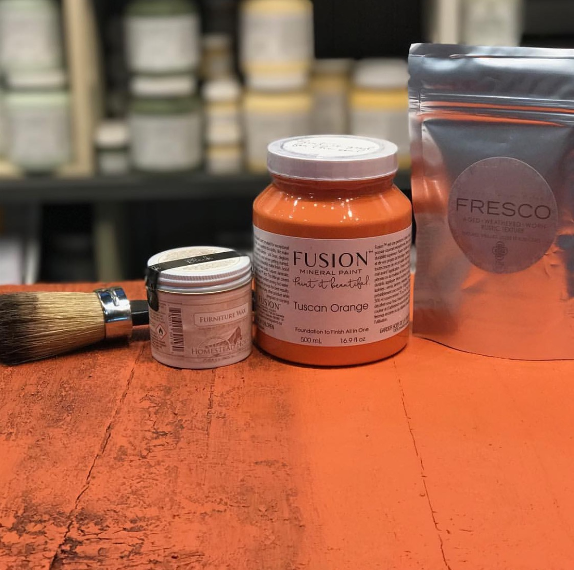 Tuscan Orange With Fresco Texturizing Powder Before And After Using The Black Furniture Wax