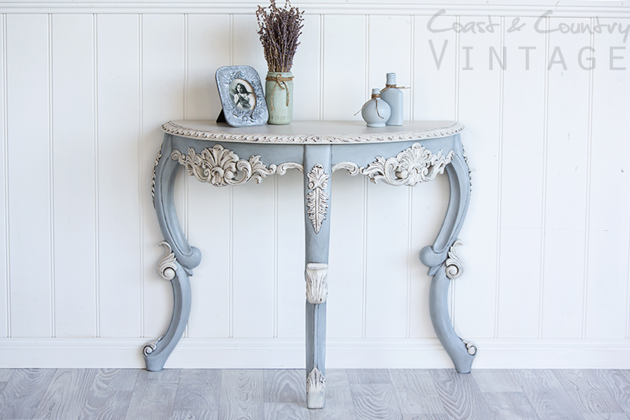 French Blue Side Table with Antique Glaze tutorial