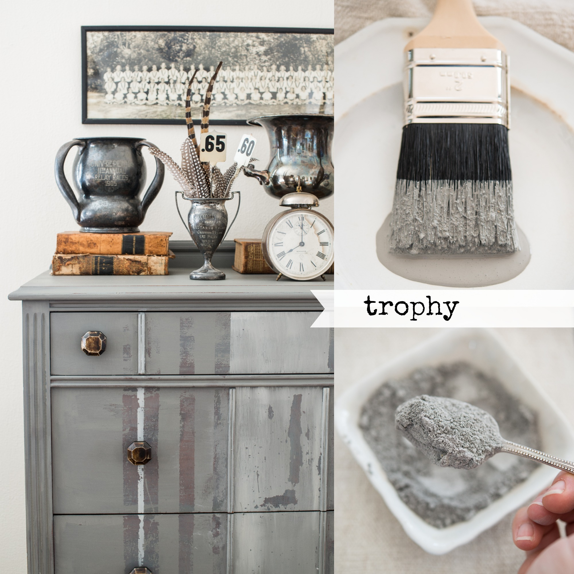 Miss Mustard Seed's Milk Paint Trophy for a DIY Headboard Barnboard finish.