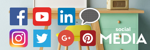 Social Media Icons over a blurred item of furniture. | fusionmineralpaint.com