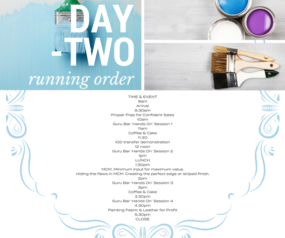 Schedule of Day 2 with picture for Brushes. | fusionmineralpaint.com