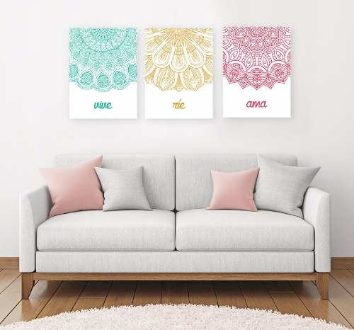 Mandala Image from pinterest of 3 part mandalas over a couch