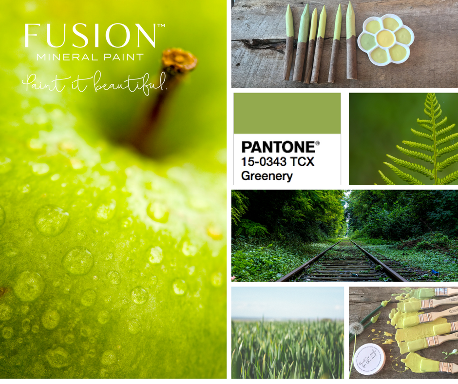 Collage of yellow Toned greens for the Fusion Pantone Colour Mixes. | fusionmineralpaint.com