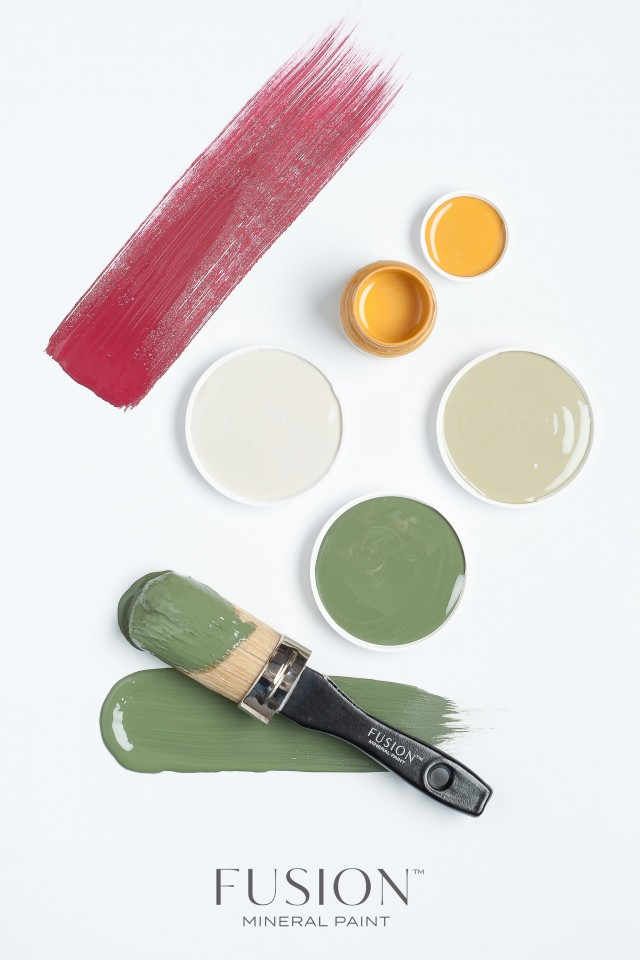 Fusion Mineral Paint in Cranberry, Bayberry and Mustard. | fusionmineralpaint.com