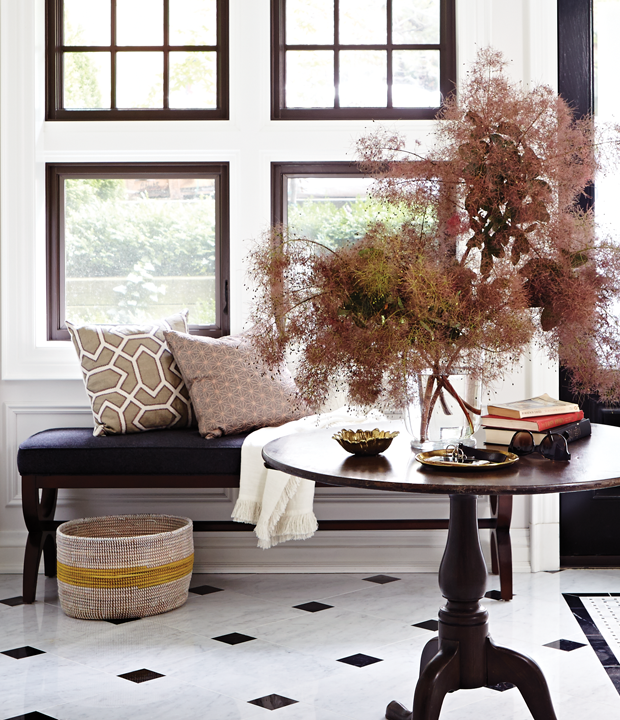 Designer Laura Stein for House and Home Magazine. Make an arrangement of smoke bush branches. A vase of smoke bush is an unexpected alternative to the usual red and orange floral arrangement, and offers a lot more height and texture. | houseandhome.com