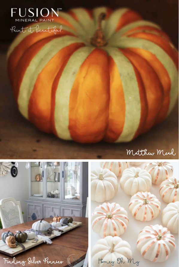 Paint pumpkins for fall using some of the stunning Metallics from Fusion Mineral paint. | fusionmineralpaint.com