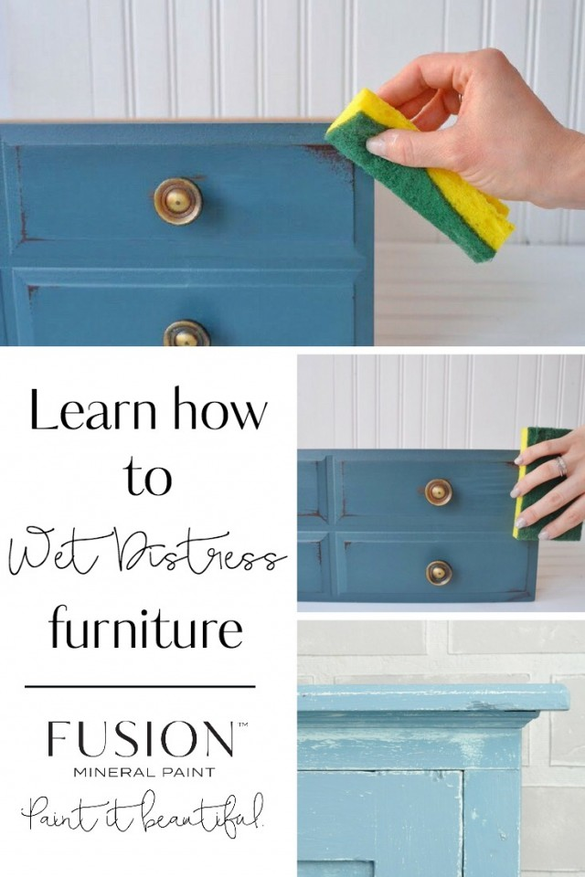 Learn how to wet distress furniture
