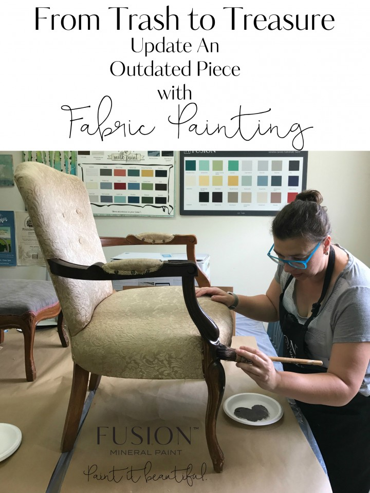 woman painting a chair