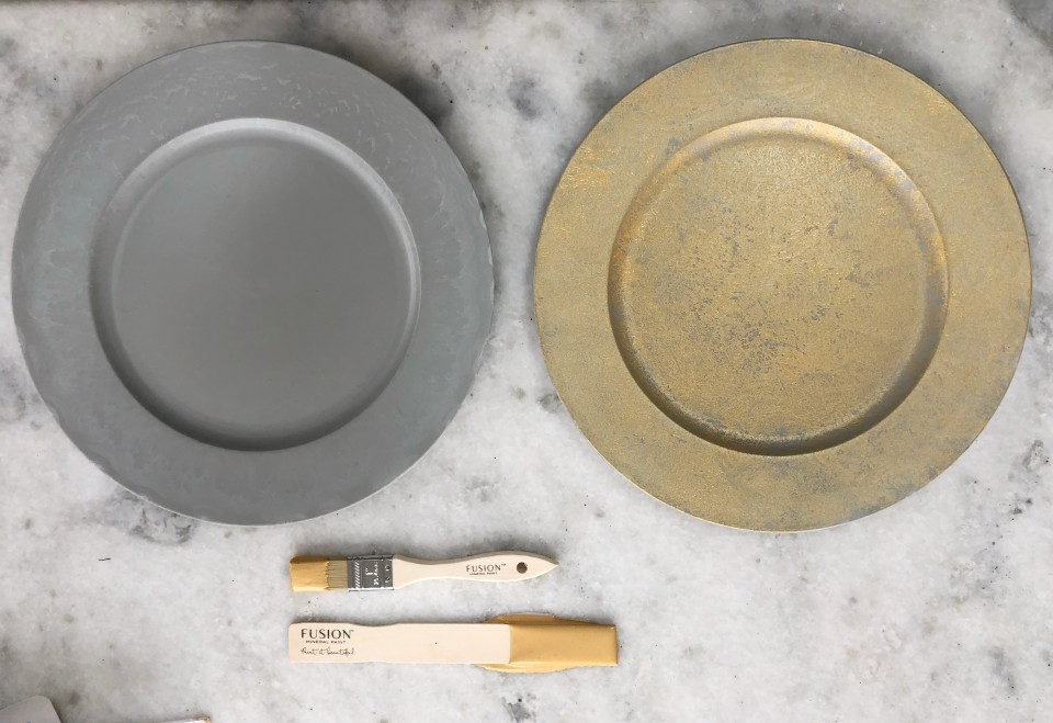 Diy Metallic Charger Plates Fusion Mineral Paint