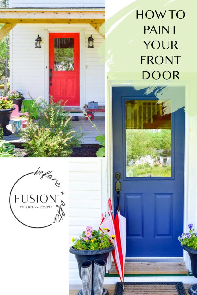 painted front door -red door on left, blue painted door on the left