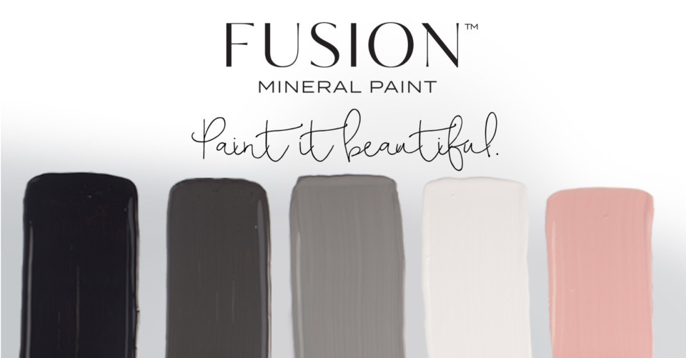 February's Color Story from Fusion Mineral Paint featuring Coal Black, Ash, Little Lamb, Lamp White, and a custom accent color.