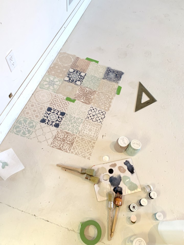 Diy Stenciled Concrete Floor Fusion Mineral Paint