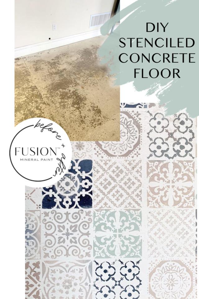 stenciled concrete floor
