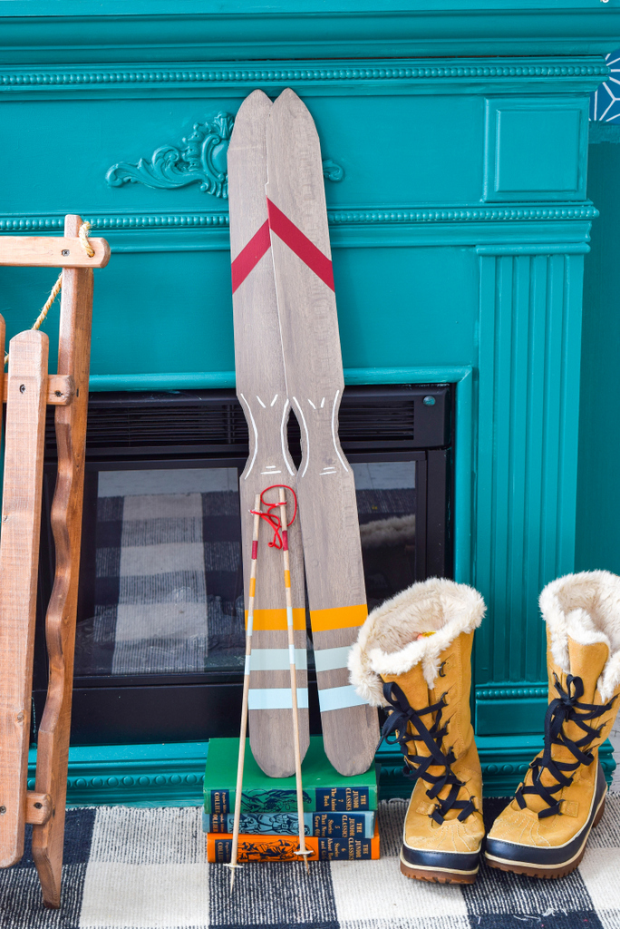 Plywood Ski Signs + Ski Decor painted with Fusion Mineral Paint