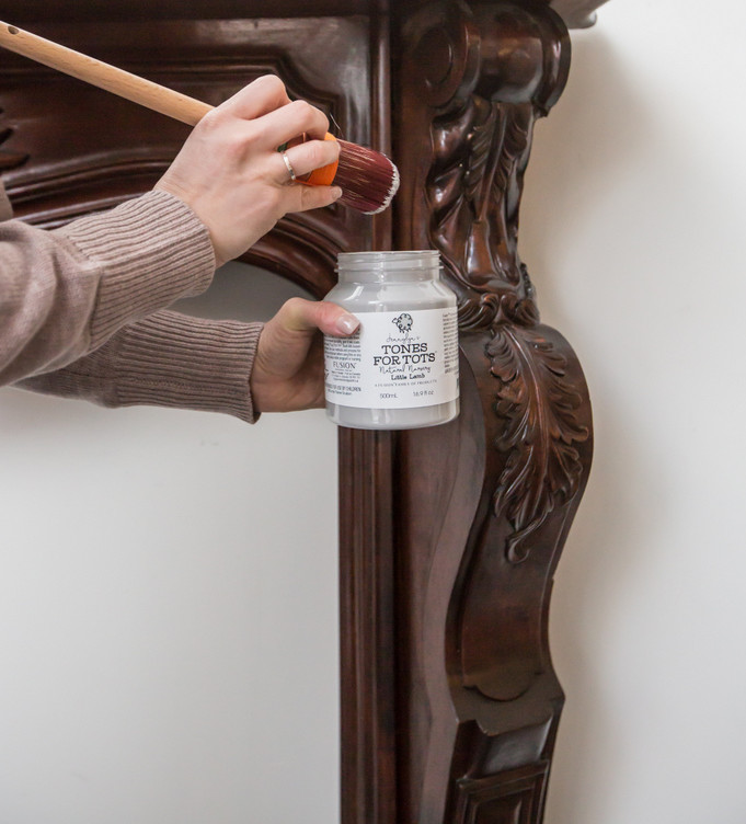Painting a fireplace mantel with Fusion Mineral Paint