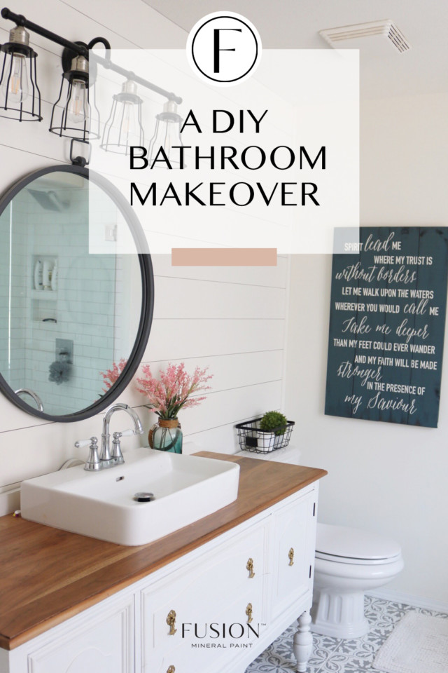 DIY bathroom makeover with furniture paint
