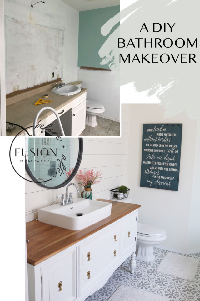 Dramatic before and after bathroom makeover with furniture paint