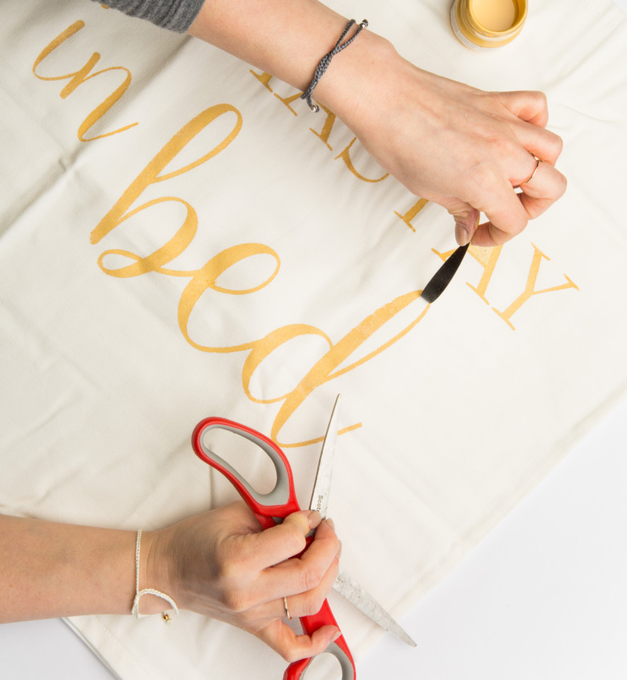 DIY Stenciled Pillowcase featuring Fusion Mineral Paint in Prairie Sunset