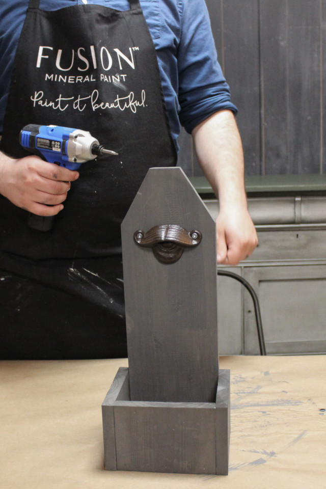 Building a bottle opener out of wood and staining it with Fusion Mineral Paint in Soap Stone