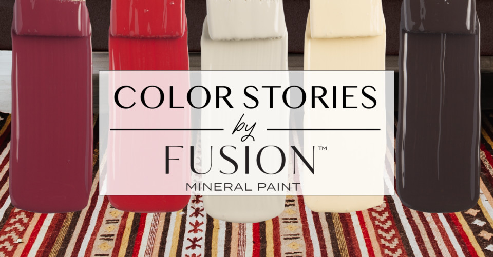 October's Color Story from Fusion Mineral Paint, featuring Chocolate, Buttermilk Cream, Bedford, Fort York Red, and Cranberry.