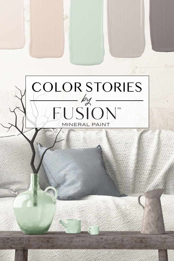 November's Color Story from Fusion Mineral Paint featuring Raw Silk, Cathedral Taupe, Laurentien, Little Lamb, and Soap Stone.