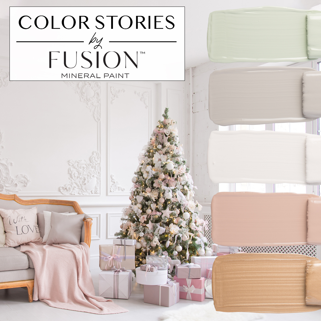 December's color story from Fusion Mineral Paint featuring brook little lamb casement damask and vintage gold