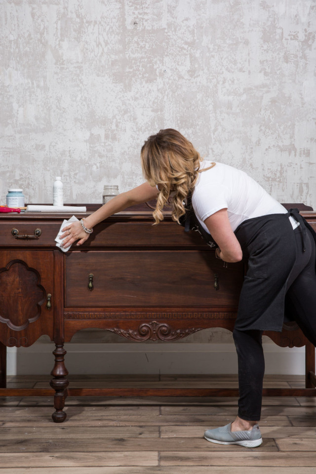 Jennylyn cleaning sideboard with TSP