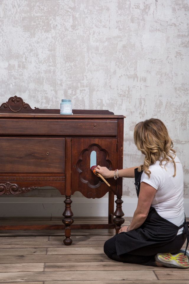 Jennylyn painting the sideboard with Champness
