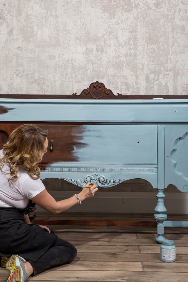 The sideboard almost painted with first coat of Champness