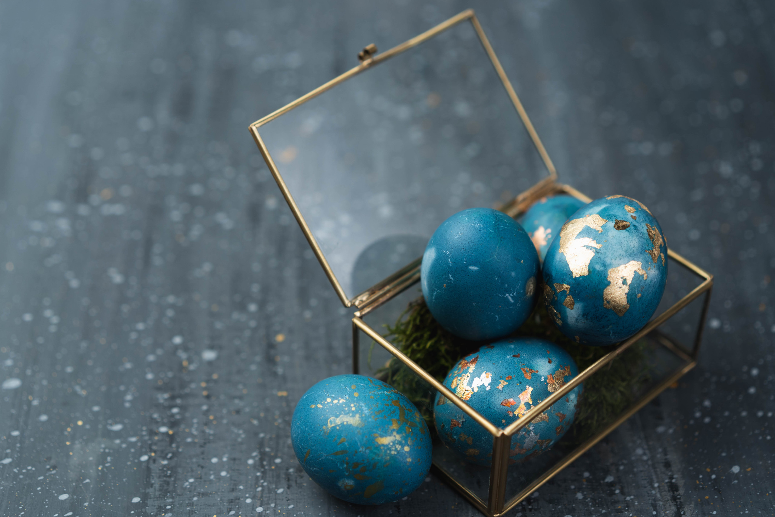 Gold Leaf Foil Eggs Home Decor