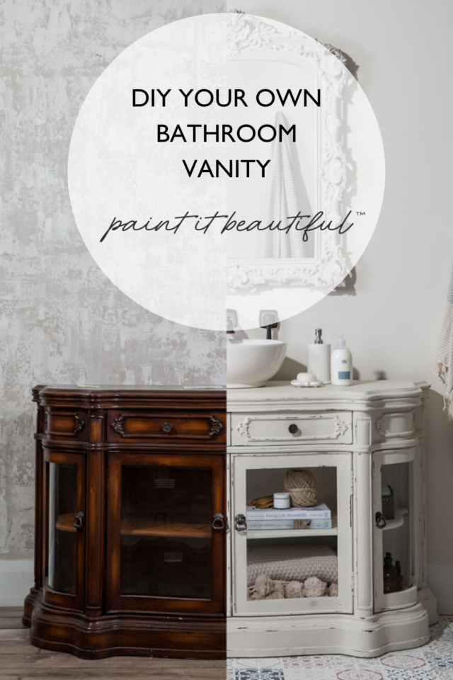 Pinterest pin showing before and after of painted bathroom vanity - Fusion Mineral Paint