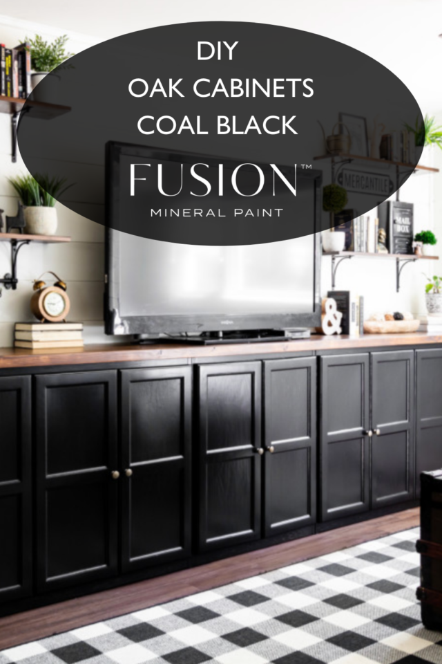Pinterest pins DIY built in cabinets Coal Black - Fusion mineral Paint