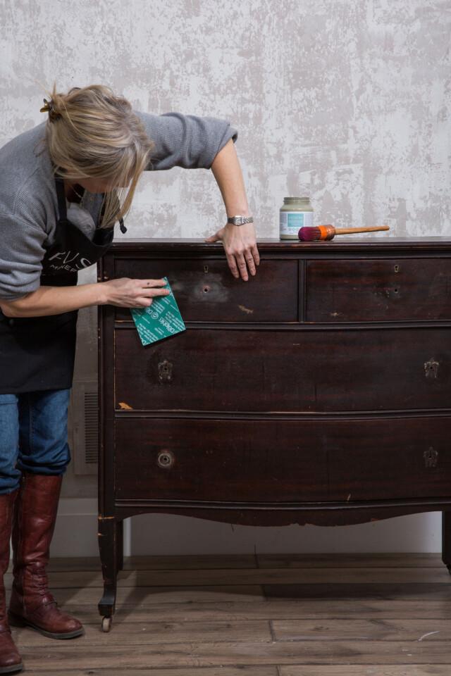 Prep Scuff sanding the dresser