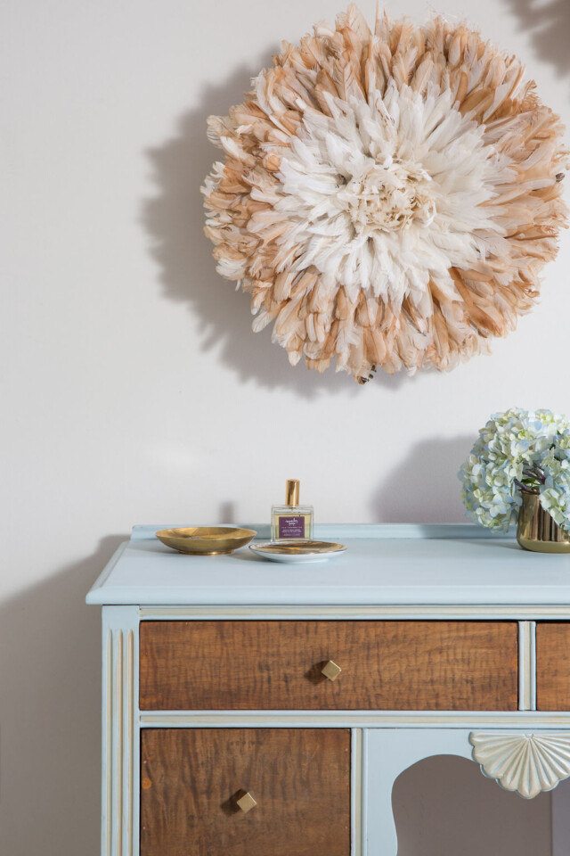 staged dressing table fresco wall