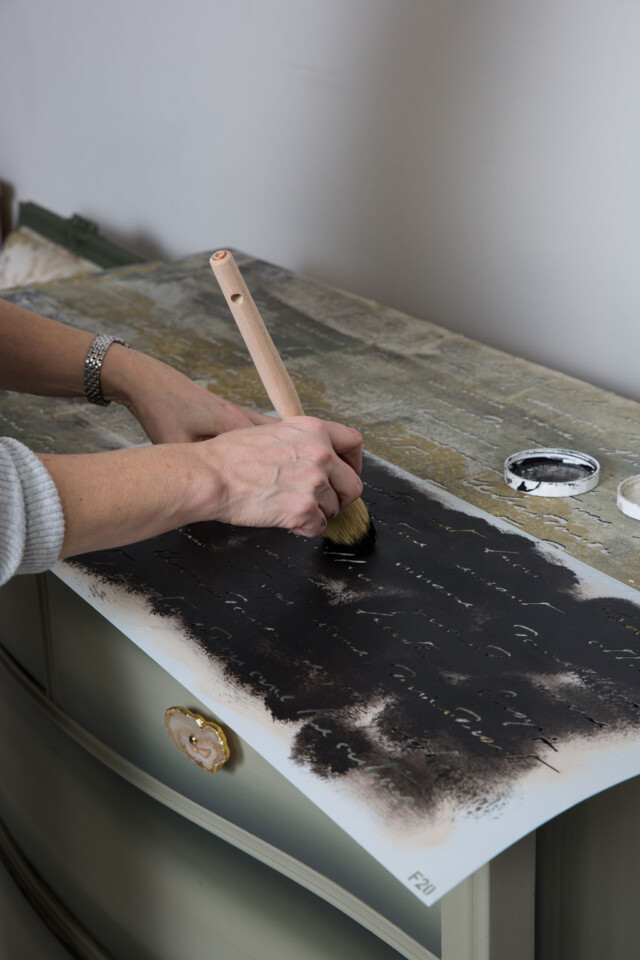 Stencilling with coal black